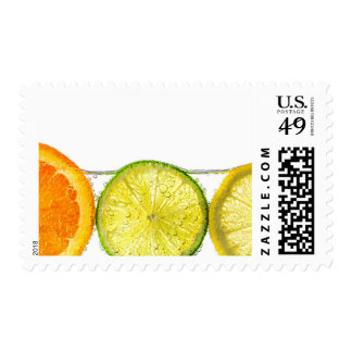 Orange lemon and lime slices in water postage stamps