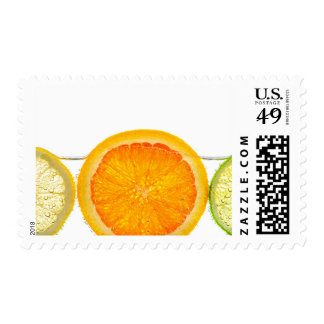 Orange lemon and lime slices in water stamp