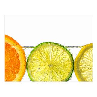 Orange lemon and lime slices in water postcard