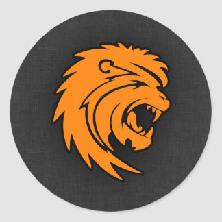 Orange Leo Classic Round Sticker