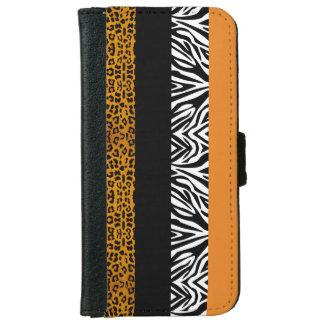 Orange Leopard and Zebra Custom Animal Print iPhone 6 Wallet Case