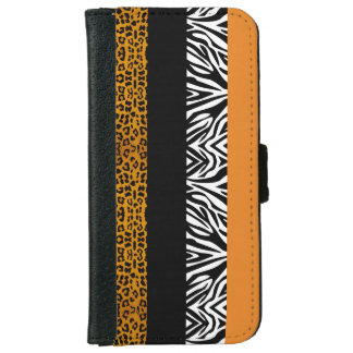 Orange Leopard and Zebra Custom Animal Print Wallet Phone Case For iPhone 6/6s