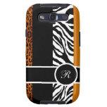 Orange Leopard and Zebra Monogram Animal Print Galaxy SIII Cover