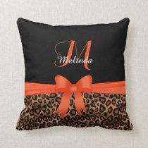 Orange Leopard Animal Print   Monogram Throw Pillow