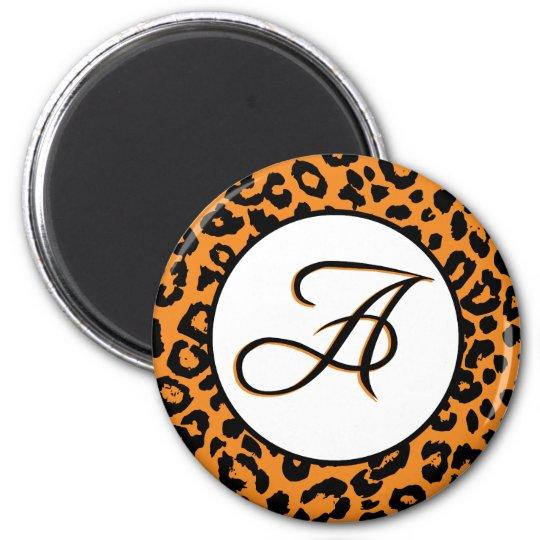 Orange Leopard Design with A Monogram Magnet