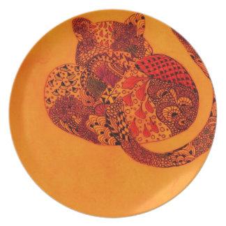 Orange Leopard Dinner Plate