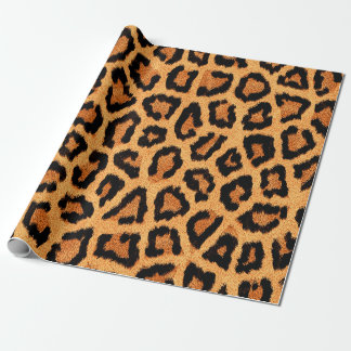 Orange leopard skin print wrapping paper