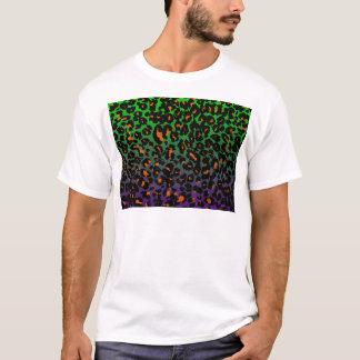 Orange Leopard Spots on Green/Purple Background T-Shirt