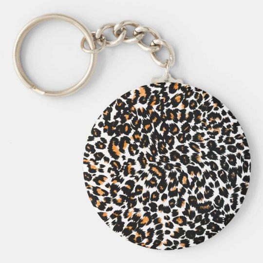 Orange Leopard Spots Pattern Keychain