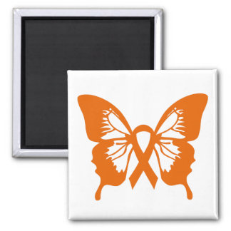 Orange Leukemia Cancer Butterfly square magnet