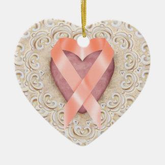 Orange Leukemia Ribbon From the Heart - SR Ceramic Ornament