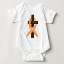 Orange Leukemia Survivor's Cross of Faith Baby Bodysuit