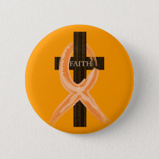 Orange Leukemia Survivor's Cross of Faith Button
