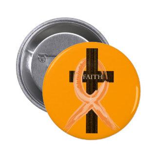 Orange Leukemia Survivor's Cross of Faith Button