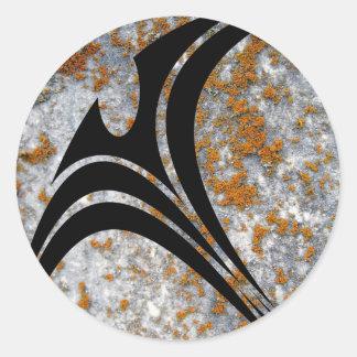 orange lichen on granite in circular tribal classic round sticker