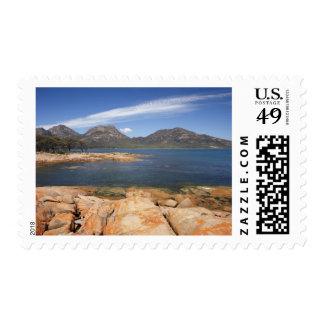 Orange Lichen on Rocks, Coles Bay, and The Postage Stamp