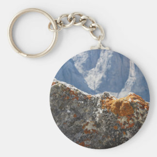 Orange lichens growing on rock face keychain