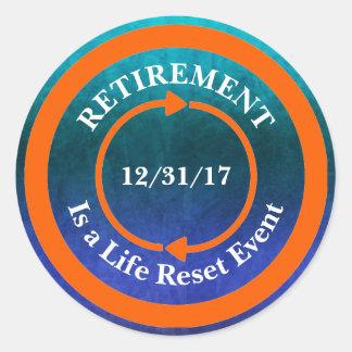 Orange Life Reset Icon Retirement Date Classic Round Sticker