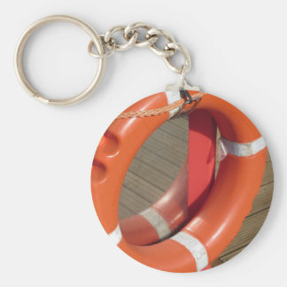 Orange lifebuoy on wooden pier in the harbor keychain
