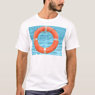 Orange lifebuoy over swimming pool water backgroun T-Shirt