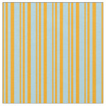 [ Thumbnail: Orange & Light Blue Lines/Stripes Pattern Fabric ]
