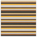[ Thumbnail: Orange, Light Grey, Brown & Black Lines Fabric ]