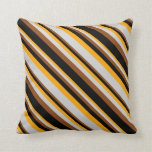 [ Thumbnail: Orange, Light Grey, Brown & Black Lines Pillow ]