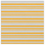 [ Thumbnail: Orange & Light Grey Colored Lines/Stripes Pattern Fabric ]