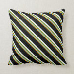 [ Thumbnail: Orange, Light Sky Blue, Green, Mint Cream & Black Throw Pillow ]