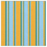 [ Thumbnail: Orange, Light Sky Blue & Teal Colored Stripes Fabric ]