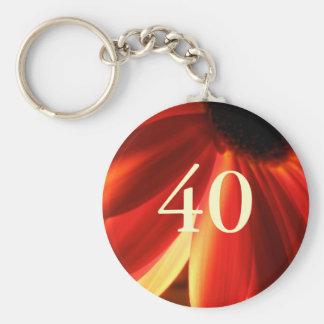 Orange Lights Flower 40th Birthday Gift Basic Round Button Keychain