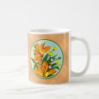 Orange Lilies Black Capped Chickadee Bird Mugs