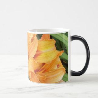 Orange Lilies on Green Leaves Magic Mug