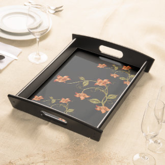Orange Lillies Floral Pattern Black Serving Tray