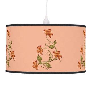 Orange Lillies Floral Pattern Hanging Lamp