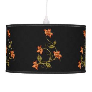 Orange Lillies Floral Pattern Hanging Lamp 2