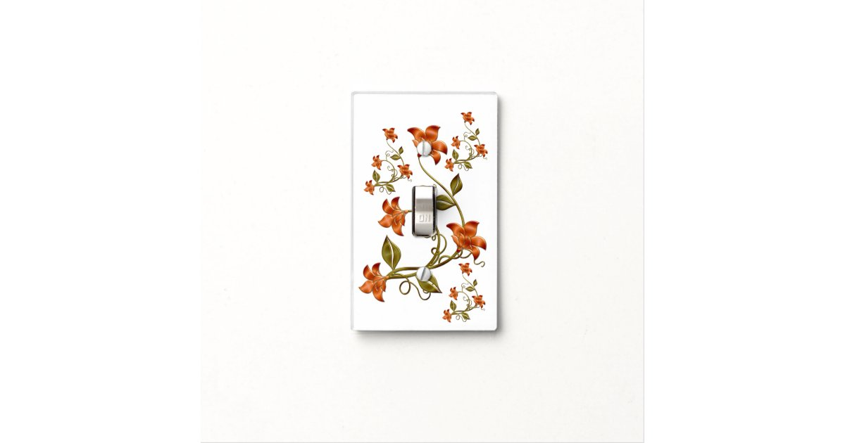 orange lillies floral pattern light switch cover