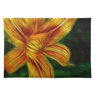 Orange Lilly Photo on Placemat Cloth Placemat