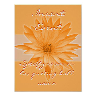 Orange Lilly wedding, event & function signage Poster