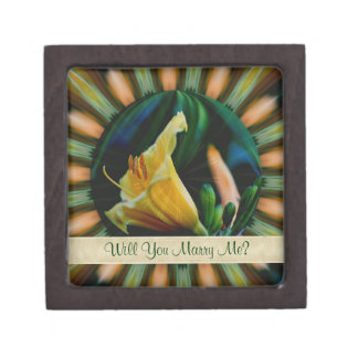 Orange Lily Abstract Engagement Ring Gift Box
