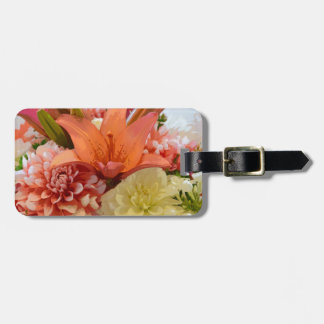 Orange lily and dahlia flowers luggage tag
