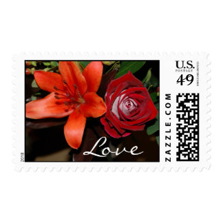 Orange Lily and Red Rose Love Postage Stamp