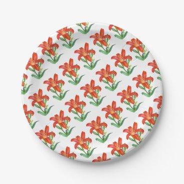Professional Business Orange Lily Botanical Illustration Paper Plate