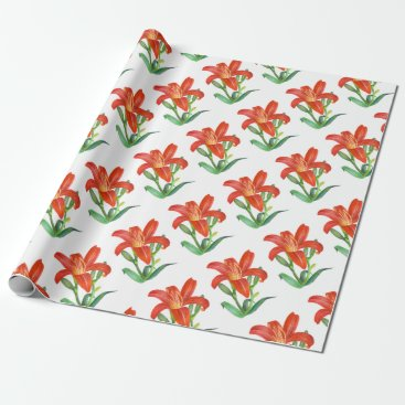 Professional Business Orange Lily Botanical Illustration Wrapping Paper