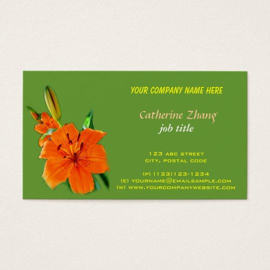 orange lily flower green business card