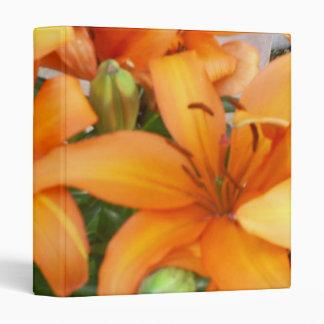 Orange Lily Flowers 3 Ring Binder