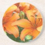 Orange Lily Flowers Coasters