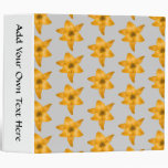 Orange Lily Flowers on Light Gray. 3 Ring Binder
