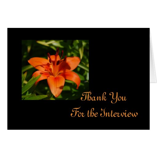 Orange Lily  Interview Thank You Card