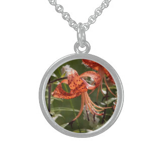 orange lily personalized necklace